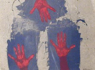 Rufino Tamayo Manos Sobre Fondo AzulOrignal Etching