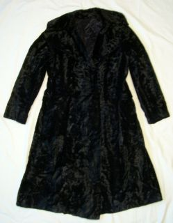 GLAM ROCK VINTAGE COAT BLACK FAUX FUR CRUSHED VELVET LONG KNEE LENGTH