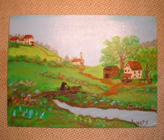 Grandma Moses Style Original Painting Outsider Folk Art by J Ayers