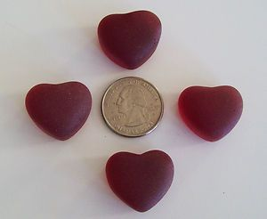 Tumbled Ruby Red Hearts Craft Glass Sea Glass Mosaic Arts Jewelry Lot