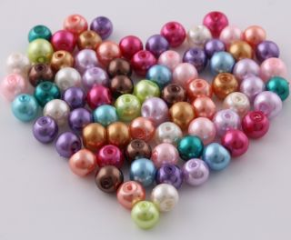 100 Pcs Mixed color glass pearls spacer beads Necklace findings charms
