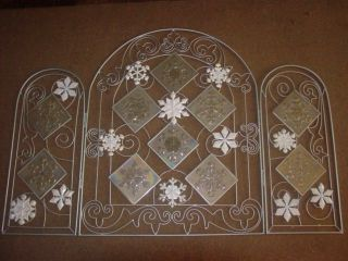 Holiday Fireplace Screen Silver Glass