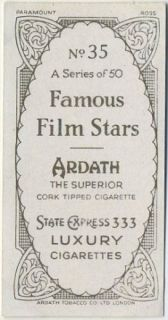 George Raft 1934 Ardath Famous Film Stars Tobacco Card 35 Movie Star