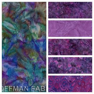 Hoffman Grape Jelly Batiks Fat Quarter Set Quilt Fabric Grape Purple
