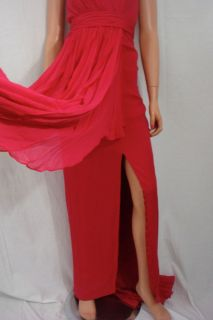 Marchesa Flyaway Halter Chiffon Gown Dress New $980 6 Notte Raspberry