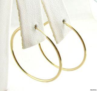 Thin Gold Hoop Earrings 14k Yellow Gold Polished Pierced Fashion 28mm