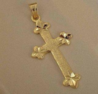 Lucky 9K Gold Filled Womens Cross Pendant Z596