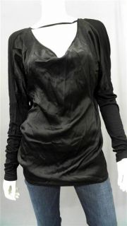 Gold Hawk Drape Back Top Misses M Jersey Black Solid Long Sleeve Shirt