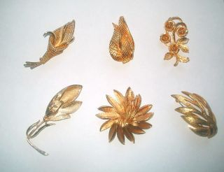 Lot 6 Vintage Coro Gold Tone Brooches Pins Pegasus