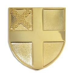 Gold Plated Religious Lapel Pin Episcopal Shield