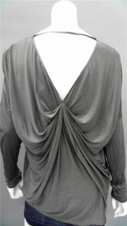 Gold Hawk Misses M Silk Blouse Top Gray Solid Long Sleeve Shirt
