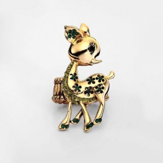 14k Gold Plated Rhinestone Spotted Deer Stretch Cocktail Ring Green