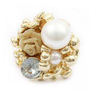 Gold GP Pearl Crystal Filigree Adjustable Rose Ring