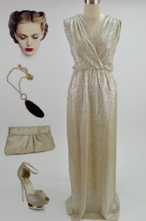 Vintage Style GOLDEN Glamour Old HOLLYWOOD Pinup LONG Maxi Dress w