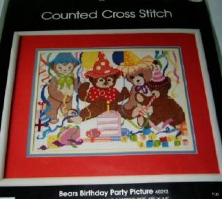 The Bears Birthday Party, a 1985 Golden Bee counted cross stitch kit.