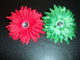 wholesale lot 6 GERBERA DAISY flower craft HAIR tutu CHRISTMAS red