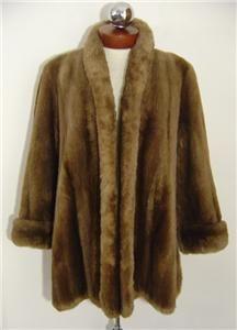 Vintage 40s 50s Genuine Brown Sheared Beaver Fur Shawl Collar Swing