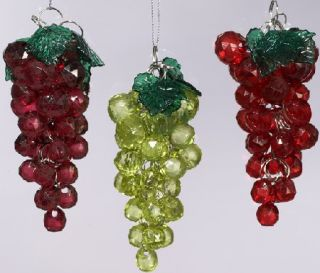 Beaded Grapes Christmas Tree Ornament Set of Three Wine Lover Holiday