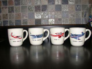 Vintage Aviation Airplane Coffee Cups Cessna Piper Mooney Beechcraft