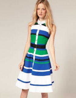 Karen Millen Green Blue Striped Colour Block Full Skirt Party Dress 8
