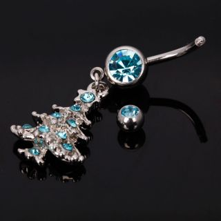 Christmas Tree Style Dangle Barbell Navel Belly Button Ring Body