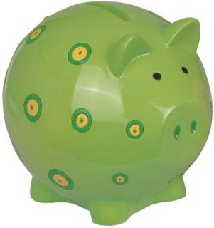 Cute Green Piggy Bank with Spots Design Collection Decoration