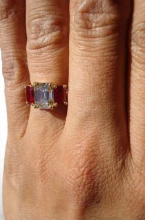 06ct Emerald GIA Diamond Faint Yellow Ruby Side Ring R2453 Diamonds