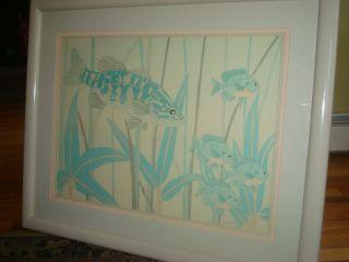 Dan Goad Tropical Fish Watercolor Lithograph Framed