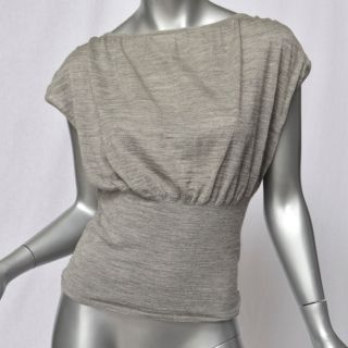 Giambattista Valli Grey Silk Alpaca Knit Blouse Shirt Top Sweater 40