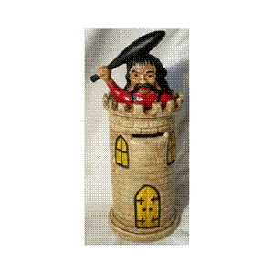 Giant on Castle Tower Turret Collectible Mechanical Coin Money Bank