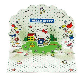 Sanrio Hello Kitty Greeting Card Pop Up 3D Thank You Garden