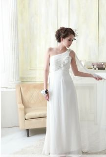 Japan Sexy Greek Goddess 1 Shoulder Chiffon White Ruffle Prom Gown