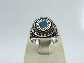 925 Sterling Silver Mens Ruby Ring with Roman Greek Motif Size 8 1 4