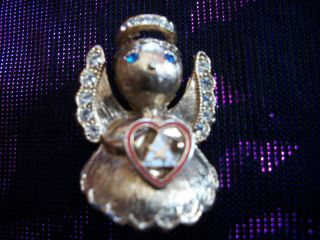Vintage Luke Razza Gold Angel Pin Brooch Rhinestones