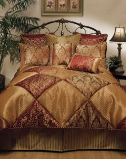 Piece Designer Wine and Gold Villa Comforter Set   Queen King