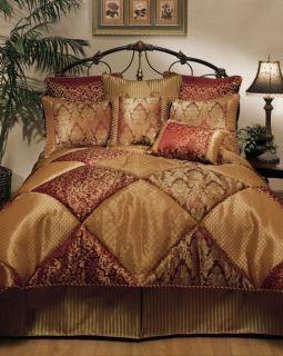 Piece Designer Wine and Gold Villa Comforter Set   Queen King