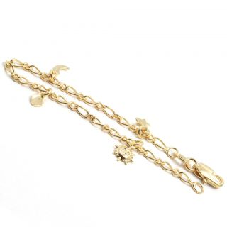 Gold 18K GF Galaxy Charm Bracelet Chain Star Sun Moon Girl Kids Baby