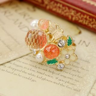 Rhinestone Leaf Butterfly Rings Cute Gold Plated Jewelry Ring Size 6