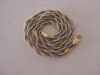 Twisted Two Tone Italy Gold Necklace 14k