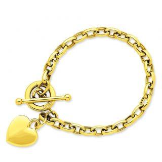 Gold Polished Oval Link Puff Heart Charm 7 5 Wrist Bracelet