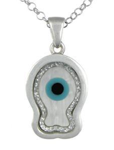 Evil Eye Fish Good Luck Charm Sterling Silver Pendant