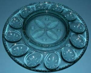 Longaberger 2001 Green Easter Glass Egg Plate New