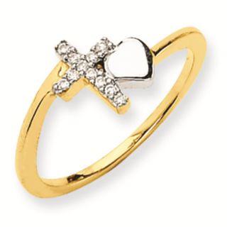14k Gold Two Tone Diamond Cross Ring