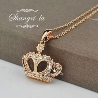 GOLD GP Genuine SWAROVSKI CRYSTAL Princess CROWN Pendant NECKLACE L290