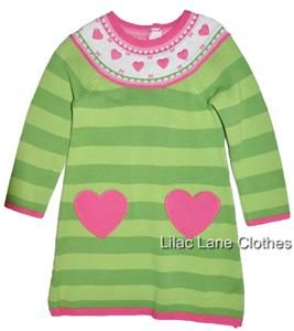 Gymboree Loveable Giraffe Green Striped Sweater Dress Pink Hearts NWT