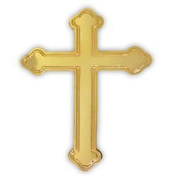 Gold Plated Ornate Cross Lapel Pin Crucifix Lord Jesus