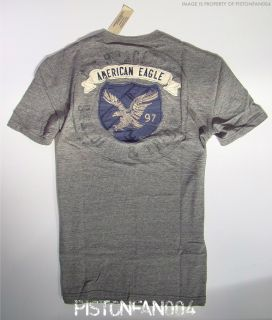 American Eagle Mens Gray Back Graphic Applique T Shirt XL Tall