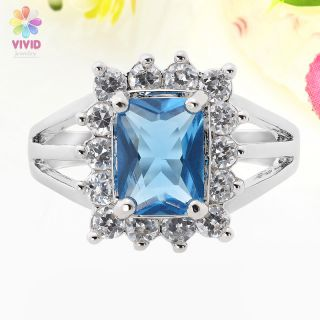 Gift Emerald Cut Aquamarine Rhinestone 18K White Gold Plated Ring Sz 6