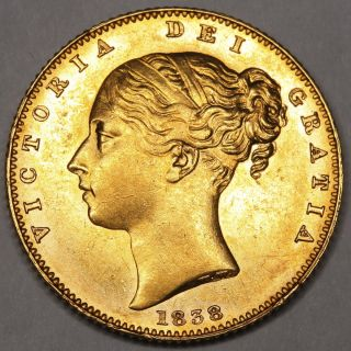 1838 Queen Victoria Great Britain Gold Full Sovereign Coin