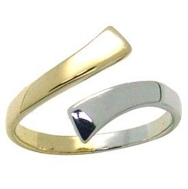 14k Two Tone Gold Bypass Toe Ring